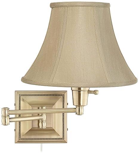 Amazon.com: Taupe Bell sombra latón Beaded plug-in Swing Arm ...