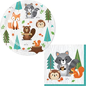 TLP Online Woodland Animals Themed Dessert Party Supply Pack for 24 People | Bundle Includes Dessert / Snack Plates and Napkins | Wild One Woodland Animals Design