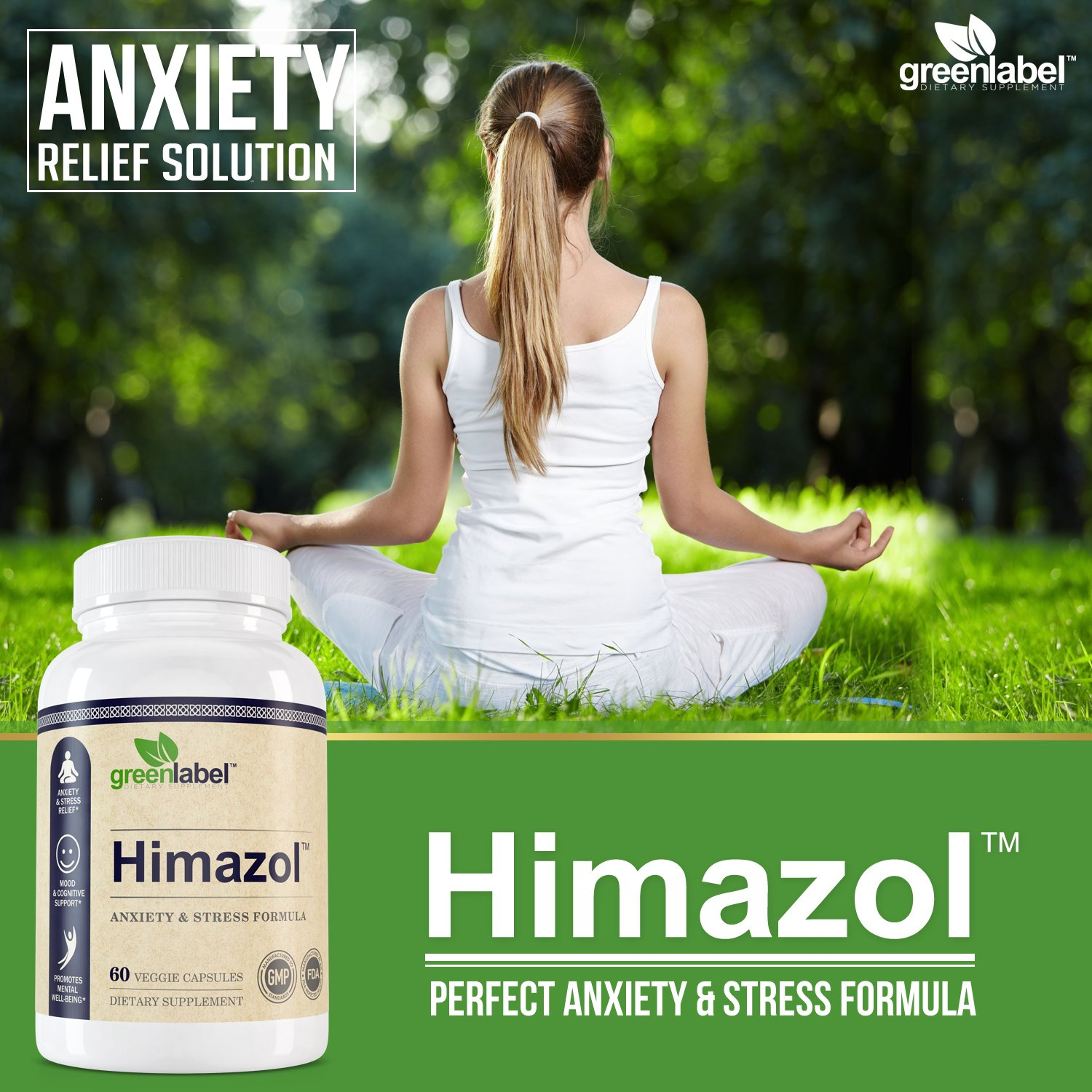 Himazol, Anxiety Relief And Stress Supplement. 60 Capsules. by GREEN LABEL DIETARY SUPPLEMENT (Image #2)