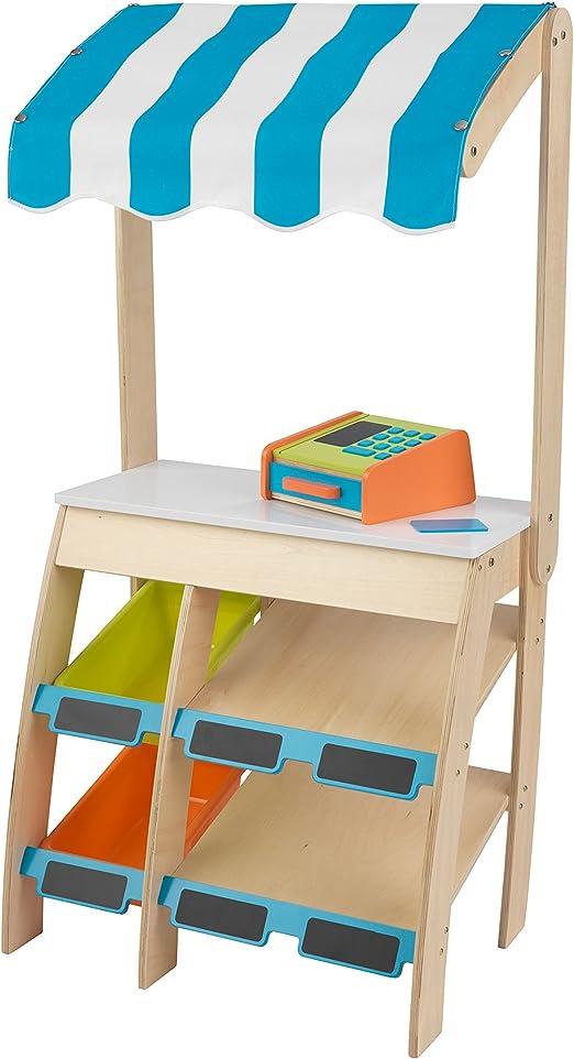 épicerie Accessoires Enfants Panier en bleu en bois marchand magasin