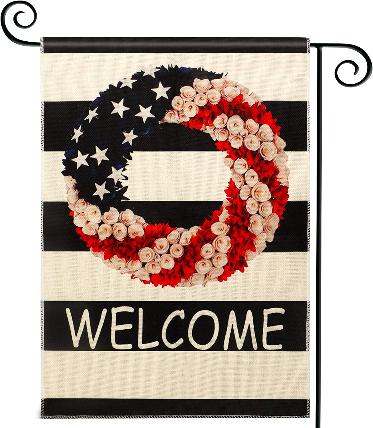 N/H Garden Flags Welcome 12.5x18 Inches Prime Double Sided Vertical Black Line America Patriotic Wreath Small Yard House Garden Flag for Outside Patio Lawn Fall Halloween Thanksgiving Decorations