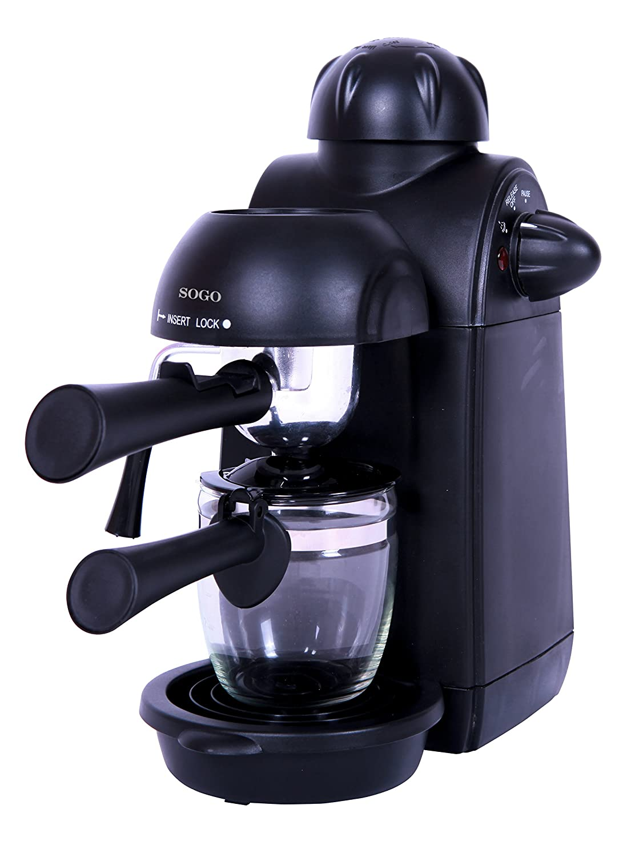 Sogo Semi Espresso Cafetera, 870 W, 0.24 litros, Plástico, Negro ...