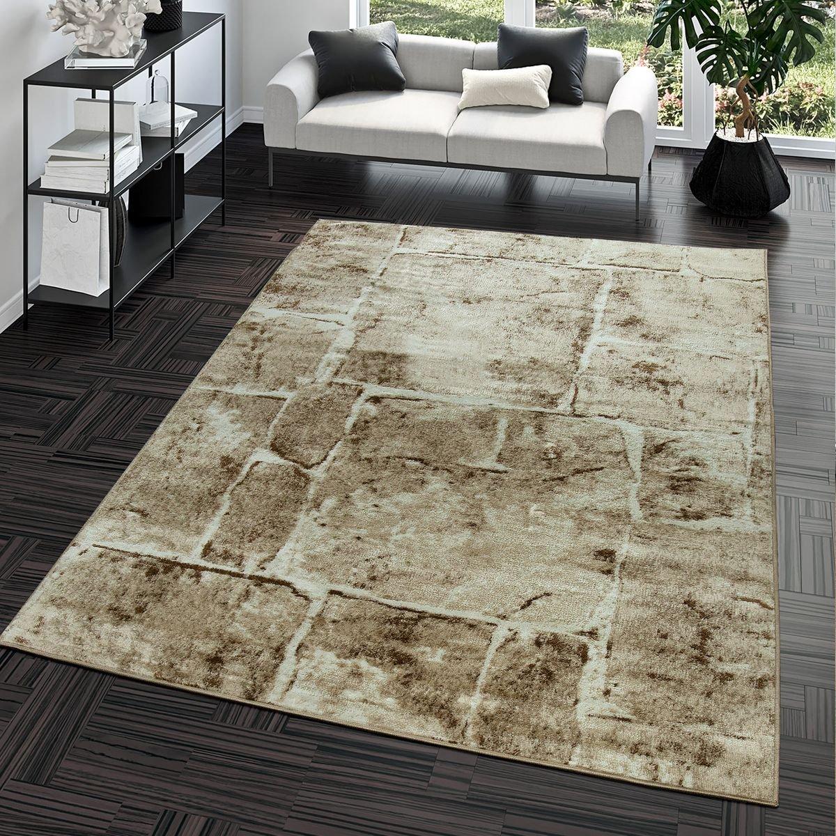 Teppich Steinboden Marmor Optik Design Modern Wohnzimmerteppich Braun Top Preis, Größe 190x280 cm