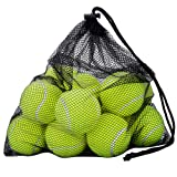 Tennis Balls, OMorc 12 Pack Sport Play Cricket Dog Toy Ball with Mesh Carrying Bag, Sturdy & Durable, - Great For Lessons, Practice, Throwing Machines & Playing with Pets