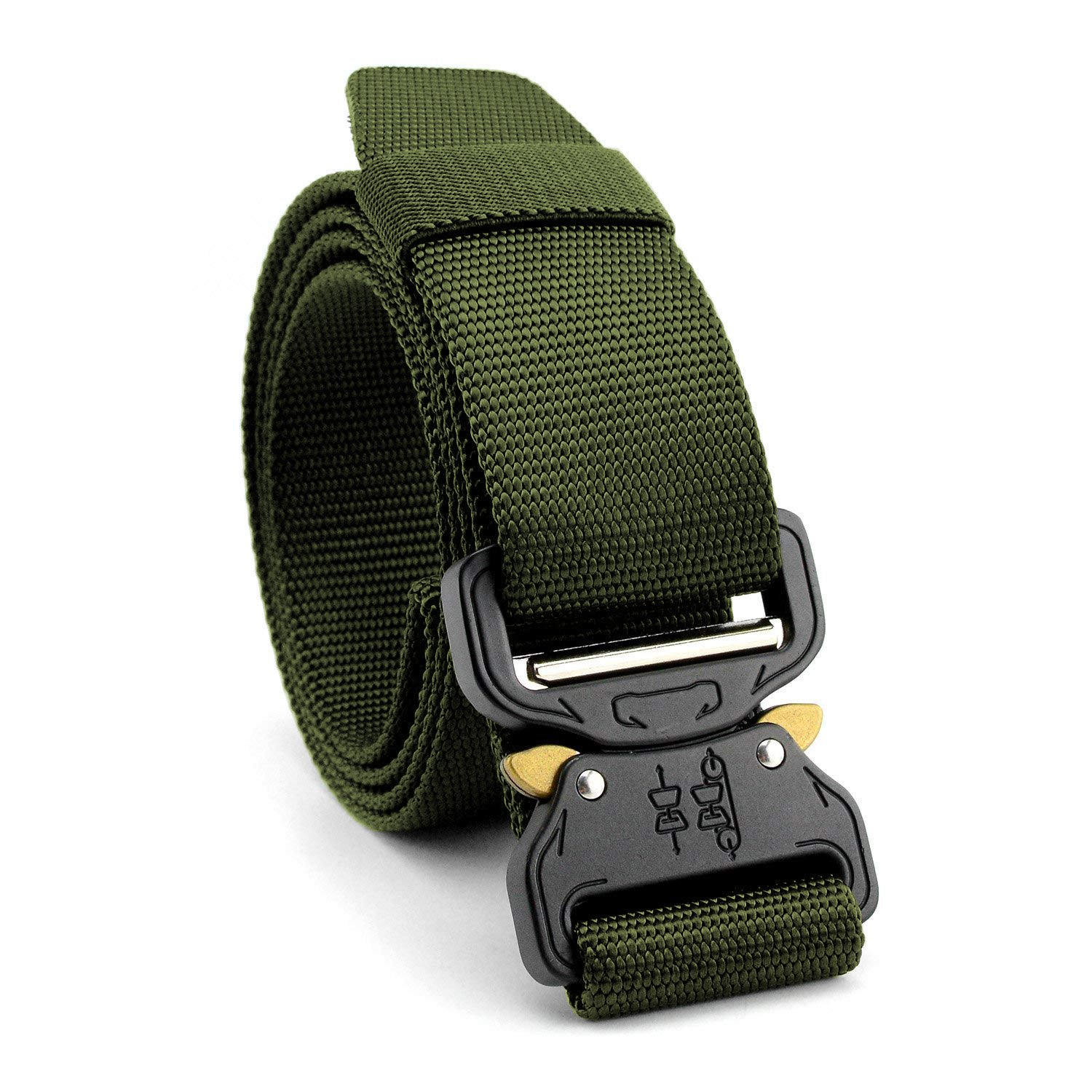 MARCHONE Mens Tactical Hunting Belts for Training, Hunting Safety, Casual Wearing Webbing Military Nylon Belt with Adjustable Metal Buckle