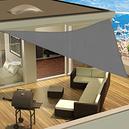Grigio Cool Area Tenda a Vela Impermeabile Triangolare 3 x 3 x 3 Metri Protezione Raggi UV