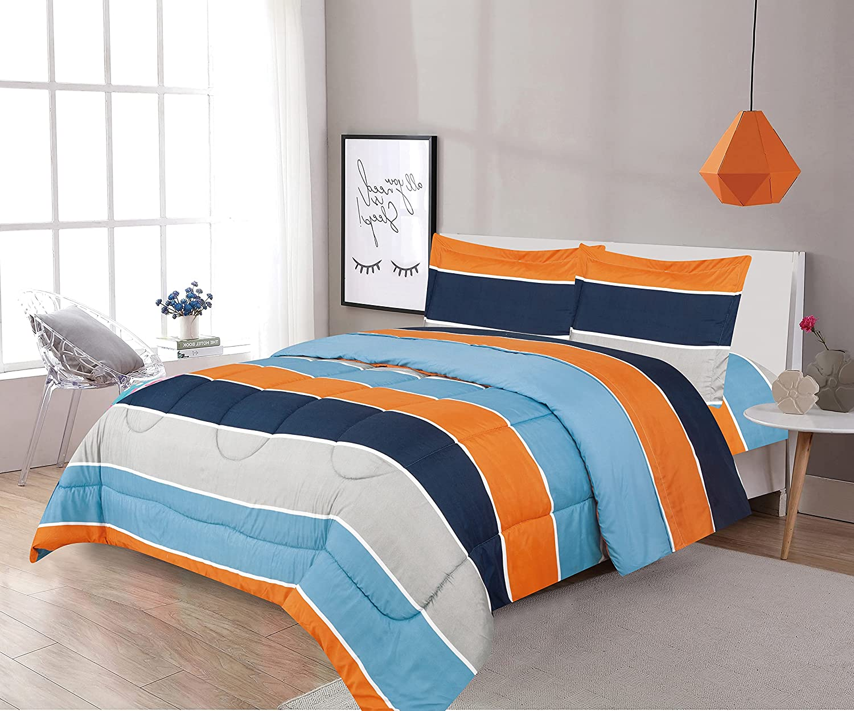 Sapphire Home 7 Piece Full Size Comforter Set Bed in Bag with Shams, Sheet Set Plaid Design, Blue Orange Gray Stripes Print Multicolor Boys Kids Girls Teens Bedding w/Sheets, (Kids Stripe, F, 7pc)