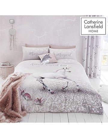 5be3bc3788 Catherine Lansfield Enchanted Unicorn Easy Care Single Duvet Set Pink