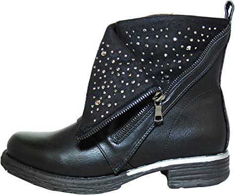 Unbekannt Damen Strass Boots Stiefelette Biker Schuhe Winter