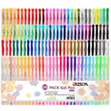 120 Colors Gel Pens Art Supplies for Adult Coloring Books, ZSCM Artist Glitter Neon Colored Gel Pens Set Art Markers Ink Pens