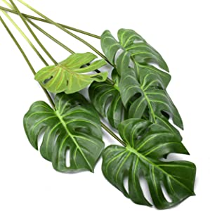 6 Pack Artificial Palm Plants Leaves Faux Turtle Leaf Fake Tropical Large Palm Tree Leaves Imitation Leaf Artificial Plants for Home Kitchen Party Flowers Arrangement Wedding Decorations