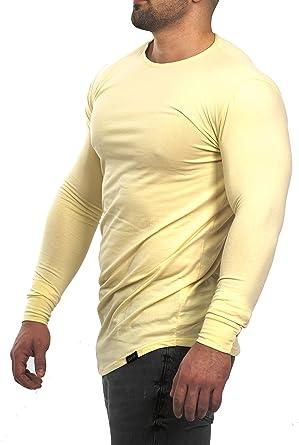 D.K Fit Oversize Langarm Longsleeve Shirt - Muscle Fit - Extra Slim Fit - Fitness  Herren Longshirt - Grau, Schwarz, Khaki Olive Grün, Beige  Amazon.de  ... 592b863510