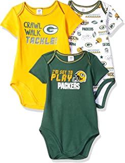 8dd5046f9ad NFL Green Bay Packers Unisex-Baby 3-Pack Short Sleeve Bodysuits, Green,