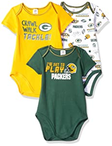 NFL Green Bay Packers Unisex-Baby 3-Pack Short Sleeve Bodysuits, Green, 0-3 Months