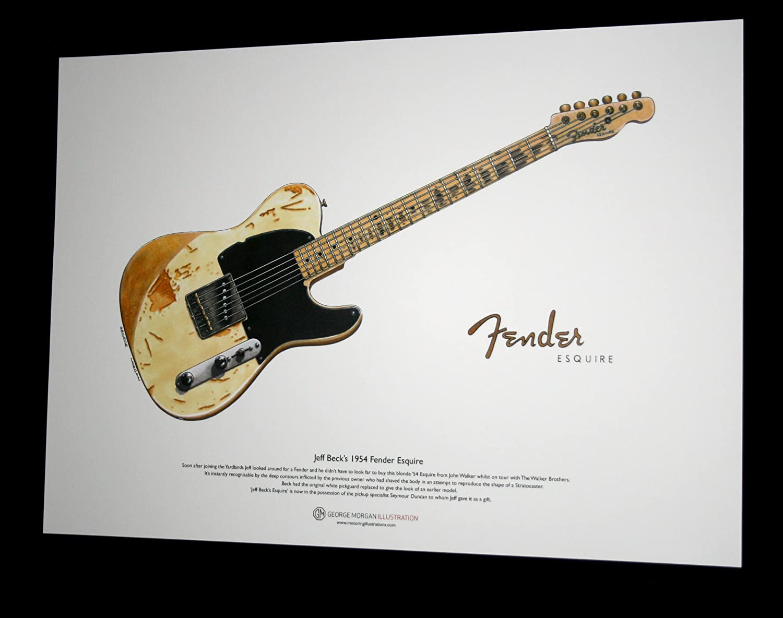 George Morgan Illustration 1954 Fender Esquire de Jeff Beck ART POSTER taille A3