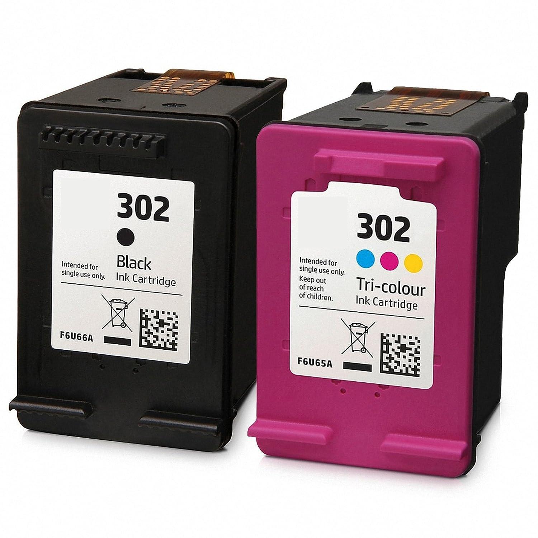 GREENPRINTER ® 302 XL Cartuchos de tinta (1 Negro, 1 tricolor) Compatiable con DeskJet 1110 1115 2130 2132 3630 3632 3633 3635 HP OfficeJet 3830 3831 ...