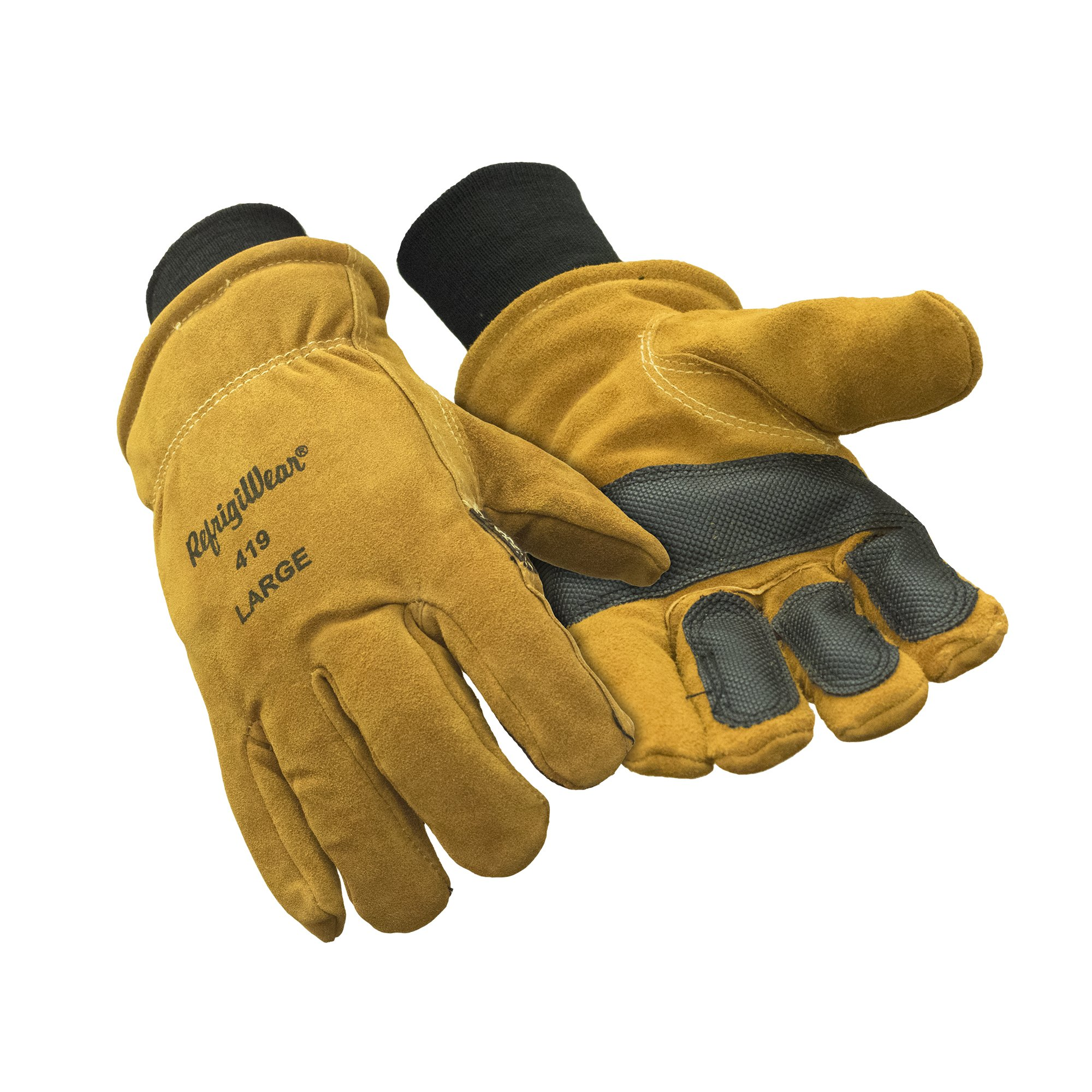 RefrigiWear Warm Double Insulated Cowhide Leather Work Gloves with Abrasion Pads (Gold, X-Large) by RefrigiWear