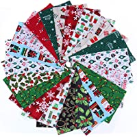 20 Pieces Cotton Fabric Christmas Fabric Bundles Sewing Square Fabric Scraps Christmas Printing Quilting Fabric Squares…