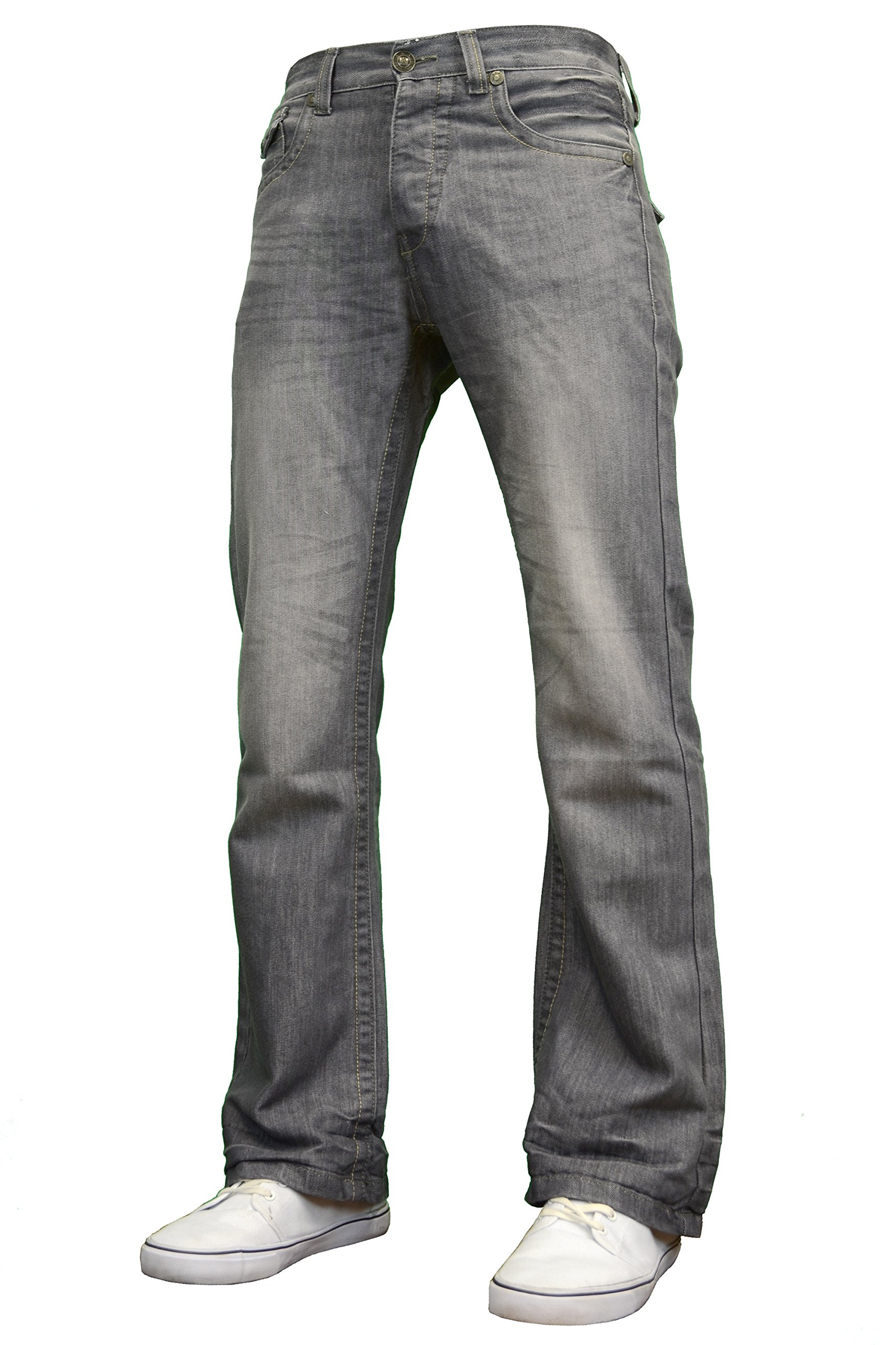 APT Mens Designer Branded Basics Regular Fit Bootcut Jeans, 28''-48'' (38W x 30L, Grey)