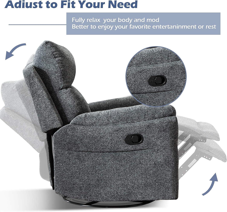 ANJ Swivel Rocker Fabric Recliner Chair - Reclining Chair Manual, Single Modern Sofa Home Theater Seating for Living Room (Smoke Grey)