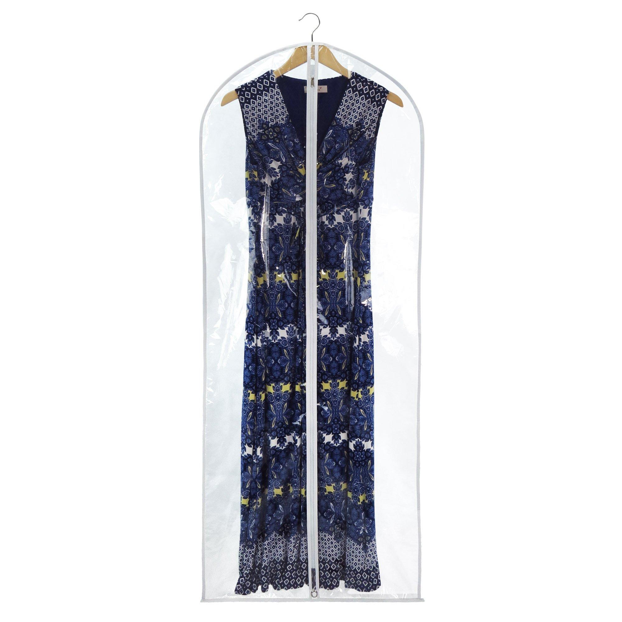 HANGERWORLD 6 Clear Showerproof 60in Whitetrim Zip Garment Cover Clothes Bags