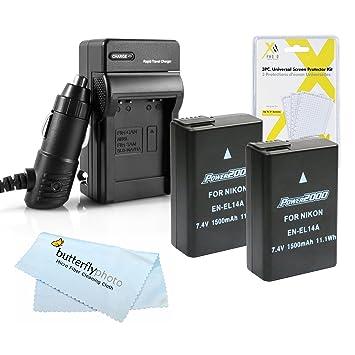 Amazon.com: 2 Pack de batería y cargador Kit para Nikon ...