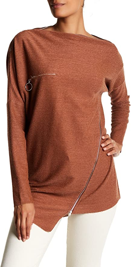 TOV Textured Grain Off The Shoulder Loose Fit Zipper Cotton Top