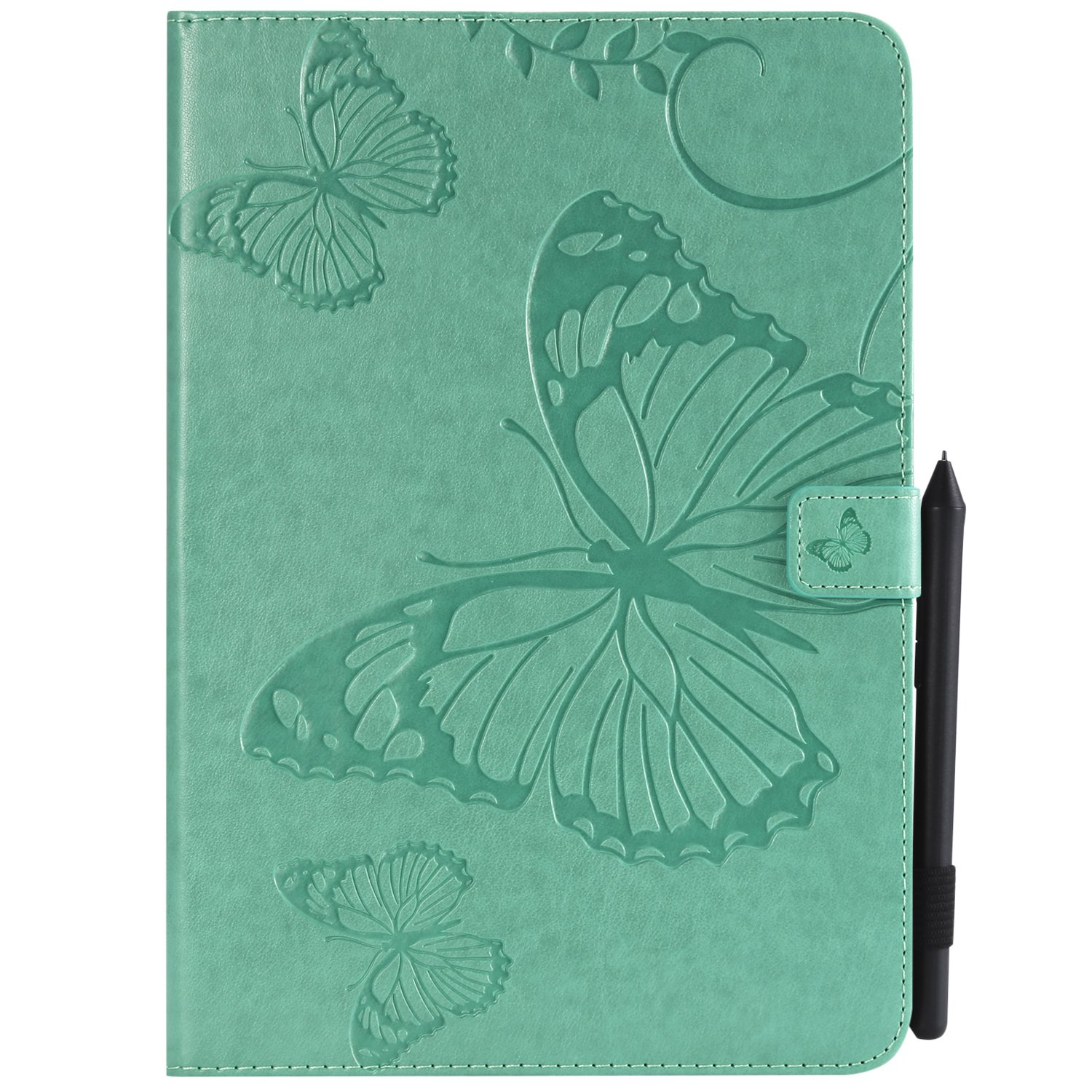 Shinyzone Tablet Leather Case for Samsung Galaxy Tab A 9.7 T550,Embossed Green Butterfly Pattern with Credit Card Slots and Pencil Holder,Auto Sleep and Wake Function Magnetic Flip Stand Cover by ShinyZone (Image #1)