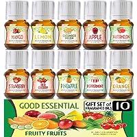 Juego de aceites esenciales de frutas frutales (10 unidades) 0.2 fl oz incluye fresa, manzana, sandía, piña, melón…