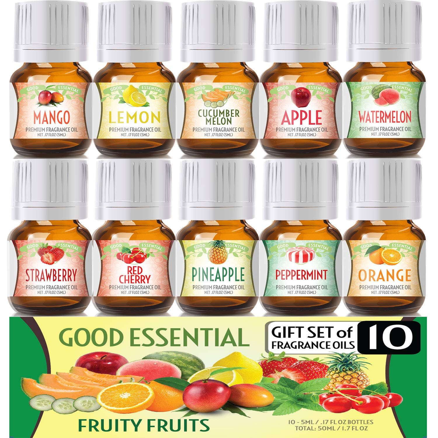 Fruity Fruits Good Essential Fragrance Oil Set (PACK OF 10) 5ml Set Includes Strawberry, Apple, Watermelon, Pineapple, Cucumber Melon, Red Cherry, Mango, Peppermint, Lemon, and Orange by Good Essential