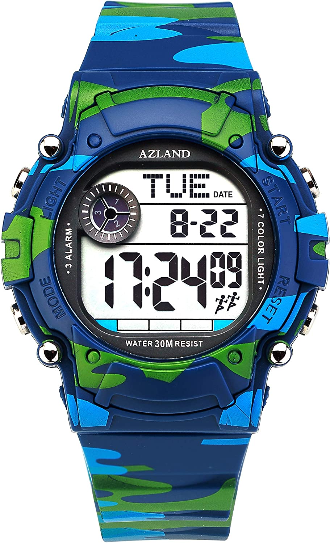 AZLAND 3 Multiple Alarms Reminder Sports Kids Wristwatch Waterproof Boys Girls Digital Watches