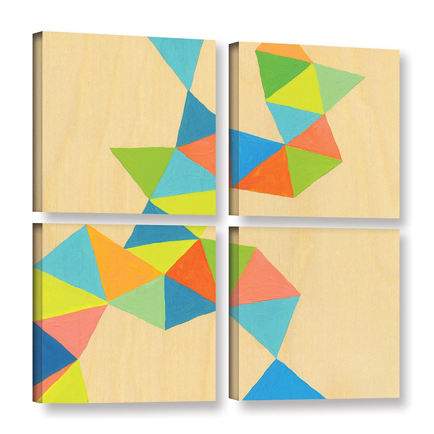 ArtWall Jan Weisss Shapes at A Cellular Level 3 4 Piece Gallery Wrapped Canvas Square Set 48X48,