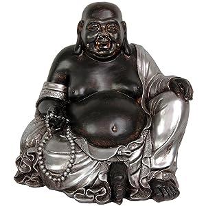 "Oriental Furniture 11"" Sitting Happy Buddha Statue"