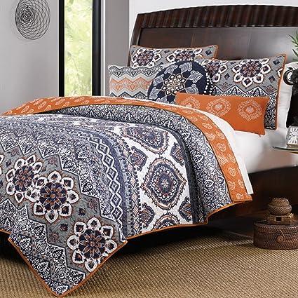 Amazon Com Boho Chic Moroccan Paisley Pattern Grey Orange Cotton 3