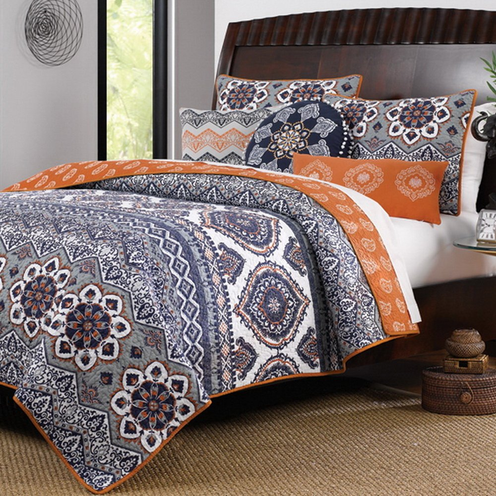 Boho Chic Moroccan Paisley Pattern Grey Orange Cotton 3 Piece Twin Size Quilt Bedding Set