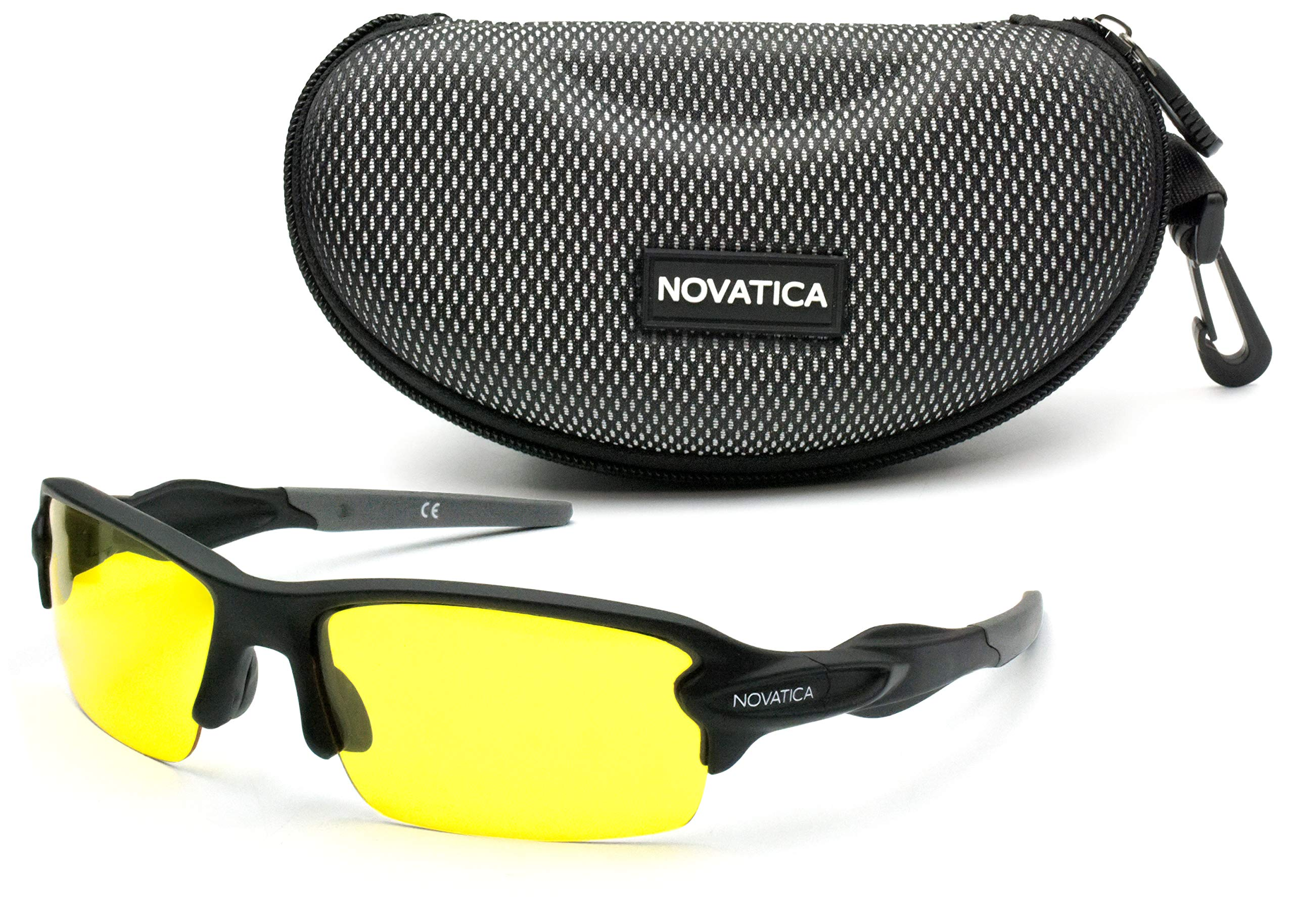 NOVATICA Shooting Glasses for Men Women - Anti Glare Yellow Semi Polarized TAC Glasses - UV Protection - Scratch Impact Resistant Yellow TAC Lenses - Sturdy TR90 Frame & Premium Hard Case by NOVATICA