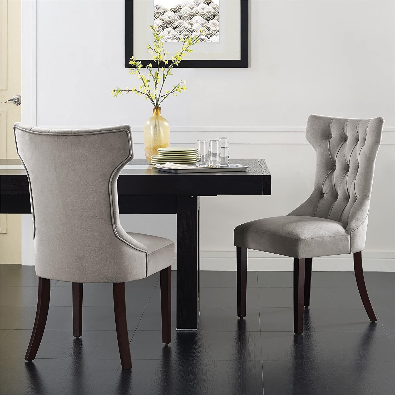 Taupe Dining Room Chairs Amazoncom Dorel Living Clairborne Tufted Upholestered Dining