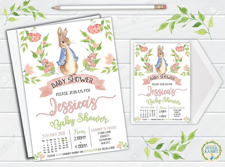 5260ac59 10 Personalised Peter Rabbit Jemima Puddleduck Baby Shower Invitations  Invites: Amazon.co.uk: Kitchen & Home