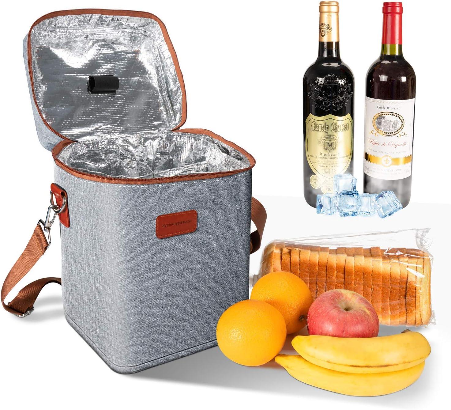 para picnics Ventvinal 13L Cooler Bag Picnic Bag Lunch Bag Multifuncional Oxford Cloth Wine Cooler Bag para 4 Botellas Playas y Fiestas con Asas y Correas de Hombro Ajustables