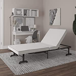 DHP Kyomi Folding Guest Bed With Memory Foam, Multiple Reclining Positions, Twin XL, Black