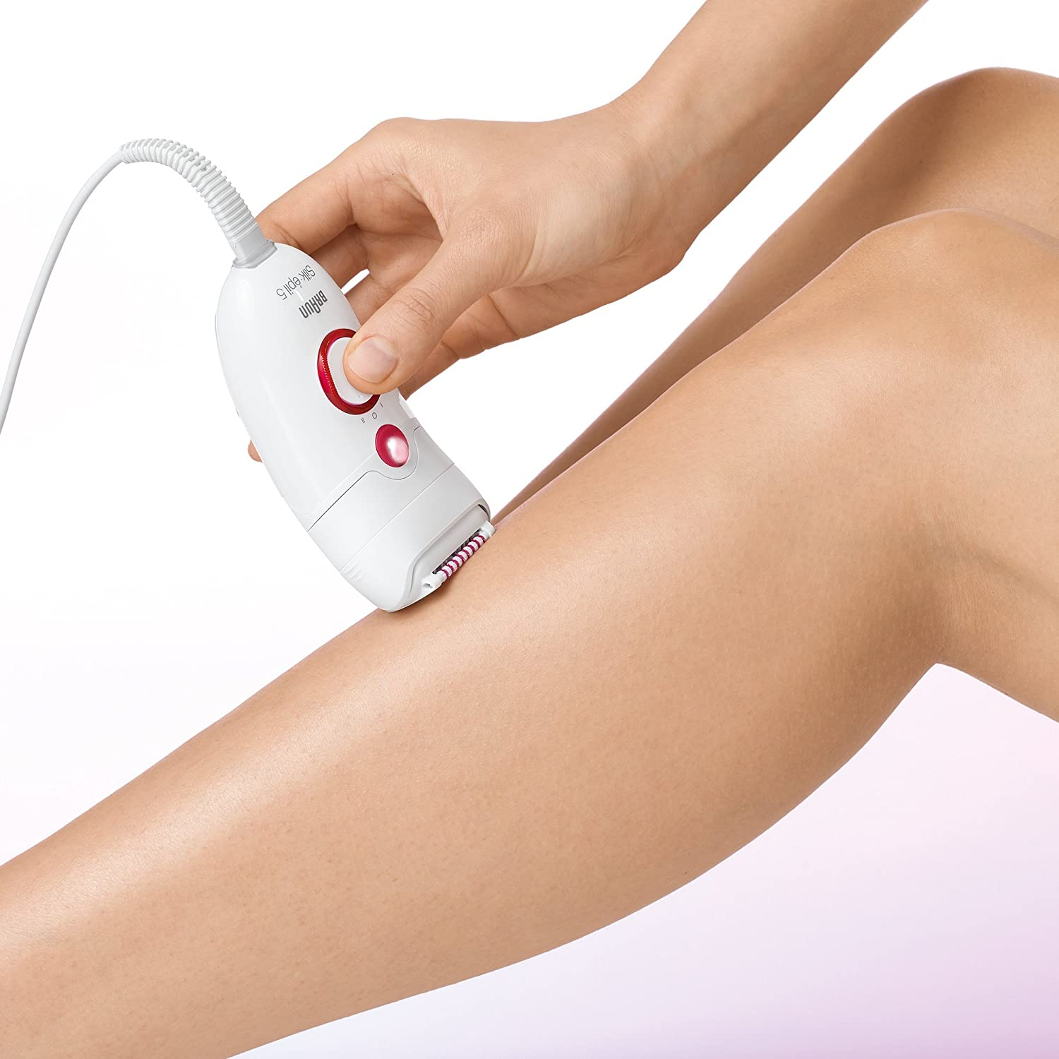 Braun Silk-épil 5 5185 Young Beauty Legs - Depiladora (Epilator) Crimson, Color blanco: Amazon.es: Salud y cuidado personal