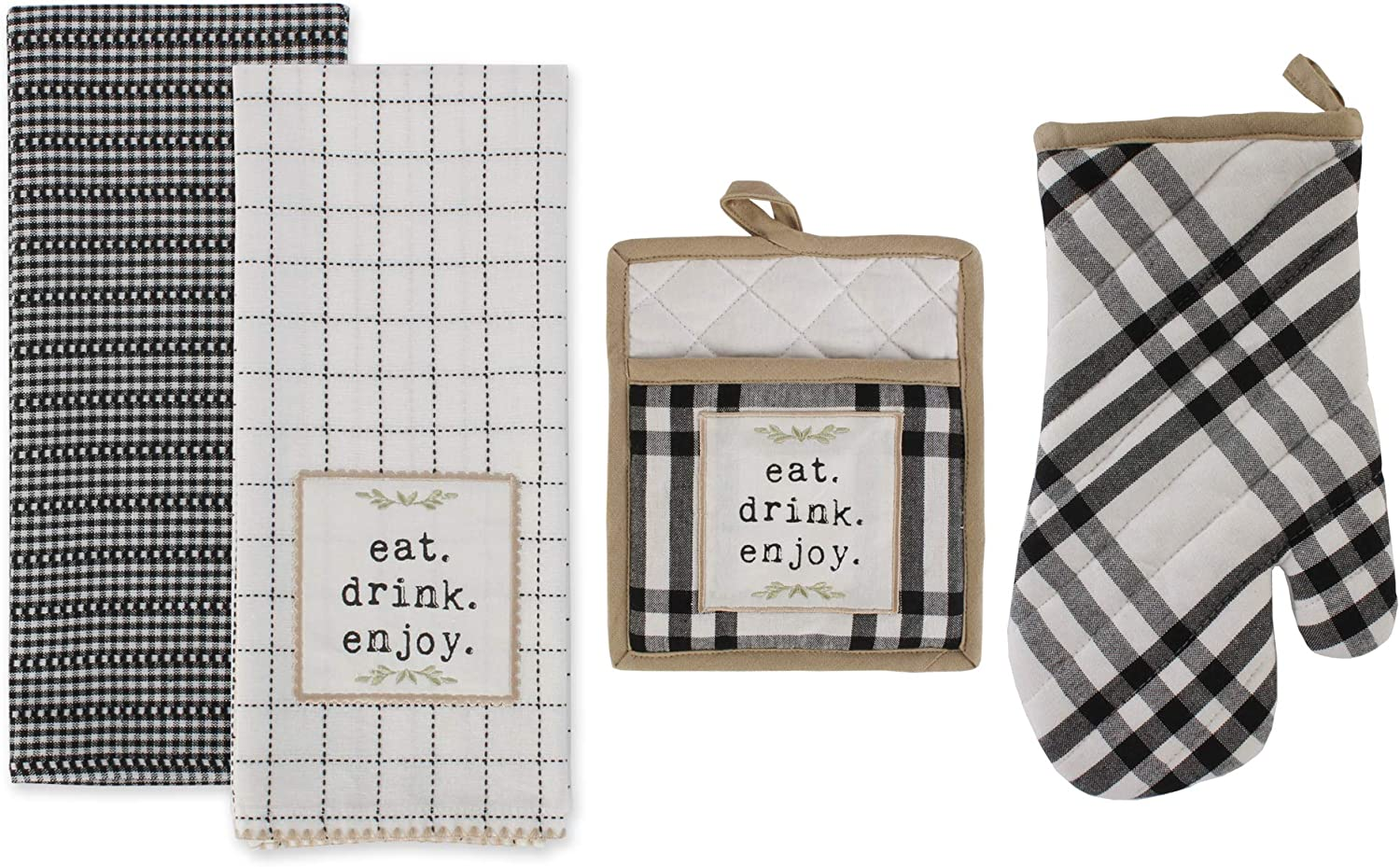 DII Home Sweet Farmhouse Kitchen Textiles Collection Stylish and Functional for Everyday Use, Set, 4 Piece