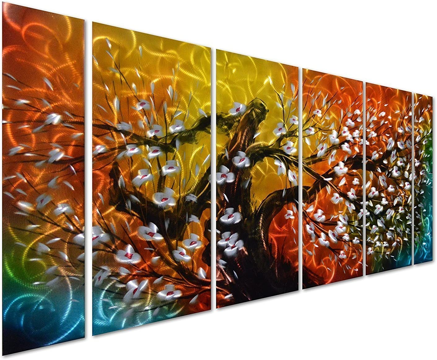 """Pure Art Gigantic Tree of Life Metal Wall Art Decor, Colorful 3D Artwork for Modern, Contemporary and Traditional Decor, 6-Panels Measures 24""""x 65"""", Abstract Great for Indoor and Outdoor Rooms"""