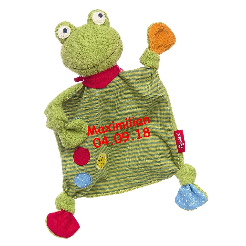 Frosch Punkte Sigikid Schmusetuch medium mit Namen bestickt Baby Geschenk zur Geburt Schnueffeltuch
