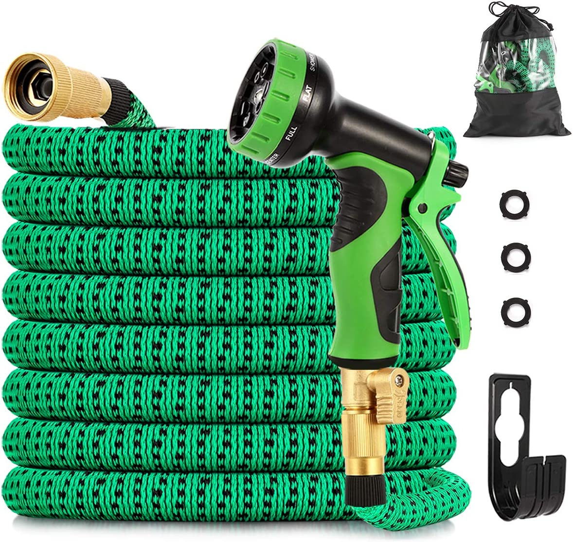 Watato Expandable Garden Hose 50ft-Durable Flexible Water Hose with 9-Way Spray Nozzle and 4 Layers Latex-3/4 inch Solid Brass Fittings-Strength 3750D No Kink Lightweight Outdoor Expanding Hose Pipe