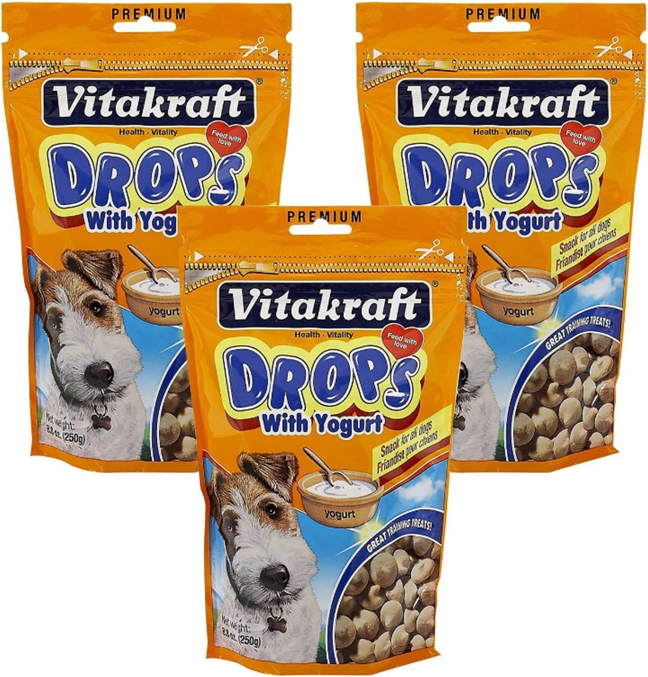 VitaKraft Drops with Yogurt Dog Treat Snacks - 3 PACK