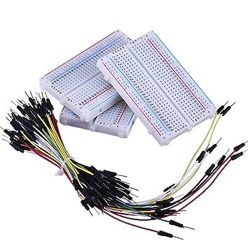 3 Piezas 400-Puntos Protoboard sin Soldadura de Circuito con 65 Piezas Cables de Jumper de Breadboard Flexibles M/ M: Amazon.es: Electrónica