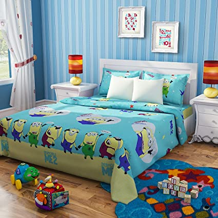 Rago Kids Minions Green And Yellow Double Bed Sheet Set