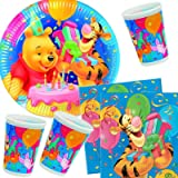 Disney Ensemble articles de fête * Winnie l'Ourson * avec assiettes + gobelets + serviettes + décorations, 40pièces // Vaisselle pour anniversaire d'enfant Décoration de fête Motif anniversaire Winnie l'Ourson Porcinet Tigrou