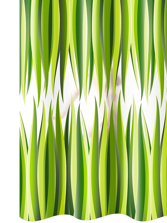 Tenda da doccia vinile 180x200 con anelli CIUFFI trasparente con un motivo a fogli verdi, antimuffa